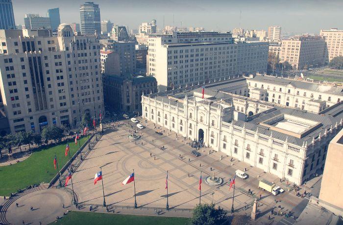 Vista aérea del Palacio de la Moneda de Santiago de Chile