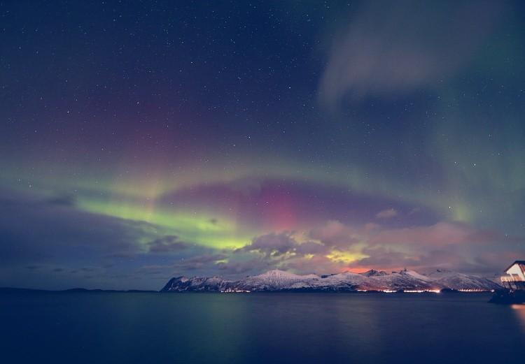 El cielo de Tromso con las auroras boreales